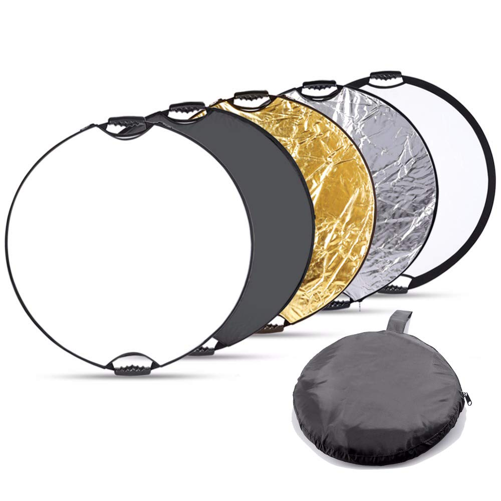 Fairview 5-in-1 Collapsible Photography Lighting Reflector 32 inch 80cm Round Handle Disc Panel Kit Portable Carrying Bag Camera Photo Studio &Outdoor Gold White Silver