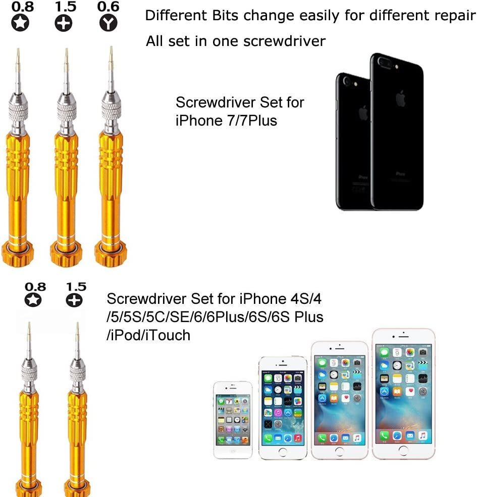 JIADUOBAOSEN Explosion Gold Series Screwdriver Sets for iPhone 5 /& 5S /& 5C iPhone 4 /& 4S 5 in 1
