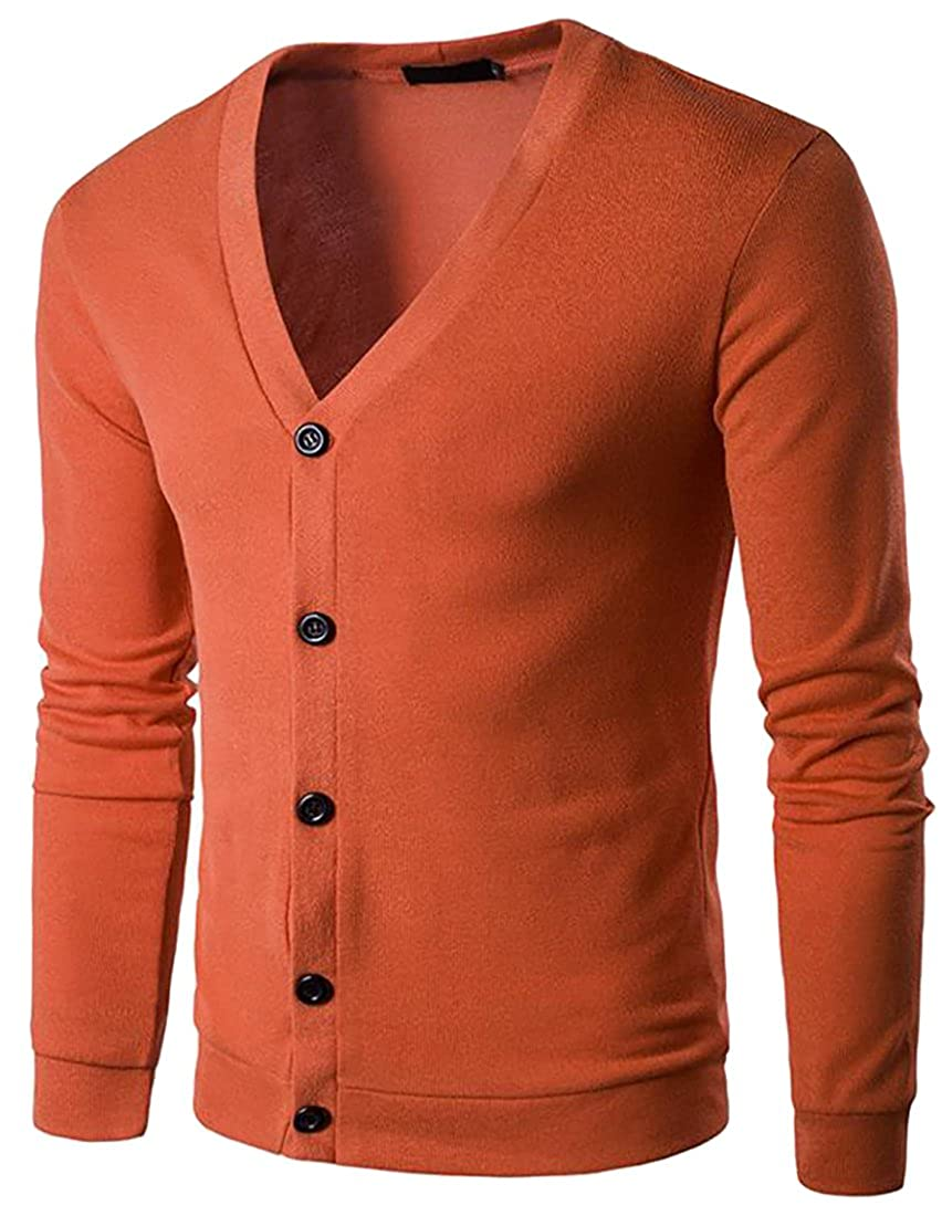 Macondoo Mens Autumn Long Sleeve V Neck Knit Solid Cardigan Sweater