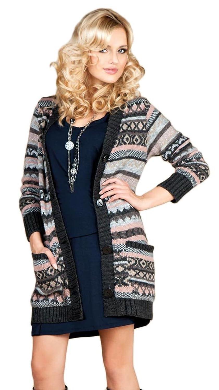 Damen Strick Jacke Mantel Pullover Neu Multicolor mit Taschen (534)