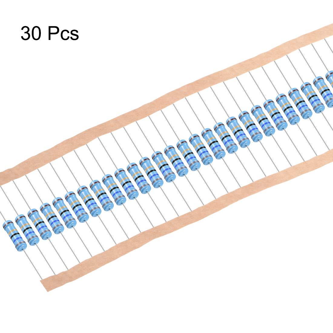 uxcell Metal Film Resistors 6.8 Ohm 1W 1/% Tolerances 5 Color Bands Pack of 30