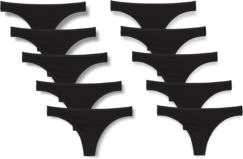 10 PACK Black Cotton Thong Panties Womens Plain