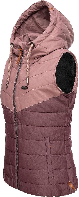 Alife and Kickin Damen Steppweste Outdoor-Weste mit Kapuze Cherry 2 Farben XS-XL