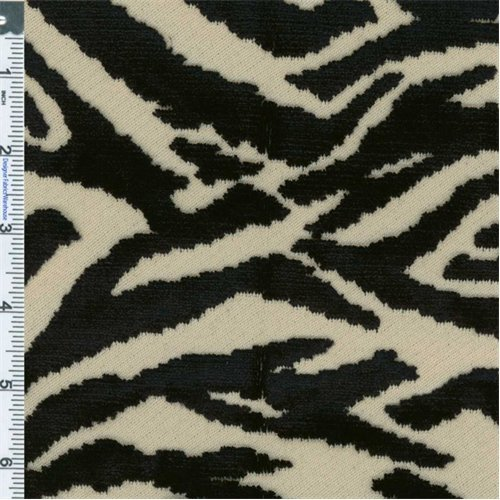 (Black/White Tiger Print Cut Velvet Upholstery Fabric, Fabric by The)