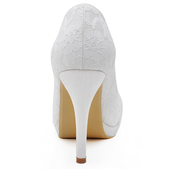 Elegantpark HC1413P Wedding Party Closed Toe Rhinestones Platform Stiletto  Heel Lace Bridal Wedding Shoes: Amazon: Shoes & Bags