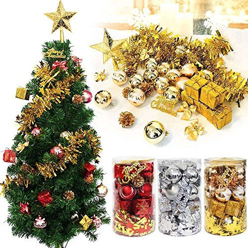 32ct Christmas Ball Assorted Pendant Shatterproof Ball Ornament Set Seasonal Decorations with Reusable Hand-help Gift Boxes Ideal for Xmas, Holiday and Party(32ct, Silver) by MVOWIZON