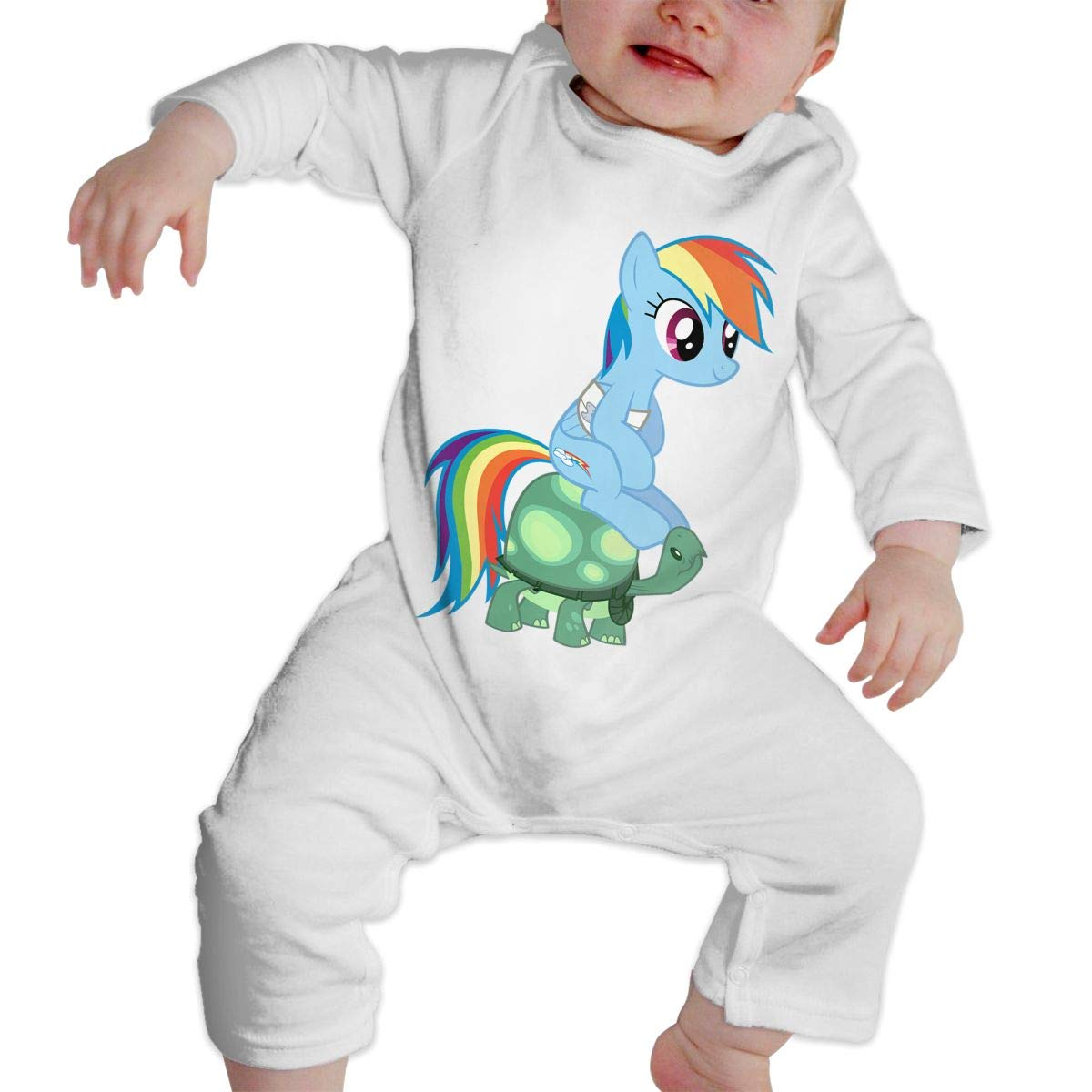 Baby Boy Girl Crew Neck Long-Sleeve Solid Color Onesie Pony and Turtle Jumpsuits Sleepwear