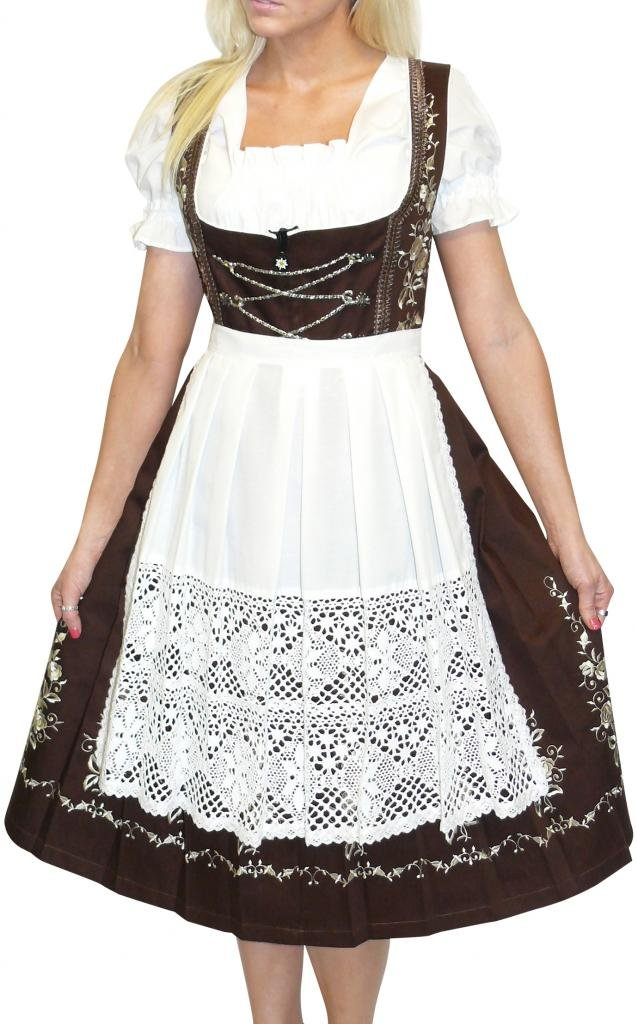 Dirndl Trachten Haus 3-Piece Long German Wear Party Oktoberfest Waitress Dress 10 40 Brown