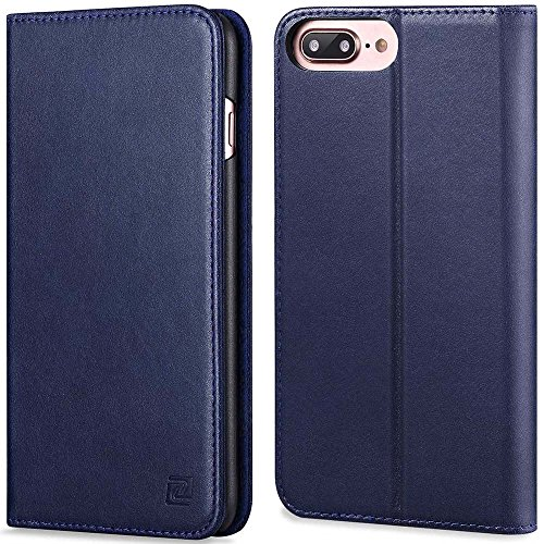 iPhone 7 Plus case ZOVER Genuine Leather Case Flip Folio Book Case Wallet Cover with Kickstand Feature Card Slots & ID Holder and Magnetic Closure for iPhone 7 Plus Navy (Leather Flip Case Cover)