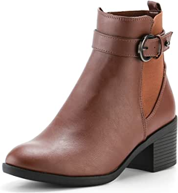 KushyShoo Womens Leather Boots, Buckle Strap Heel Ankle Booties, Block Chunky Short Boot