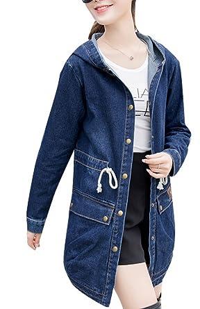 289ec55ac37 Lingswallow Women s Plus Size Loose Tunic Blue Hooded Windbreaker Denim  Jackets at Amazon Women s Coats Shop