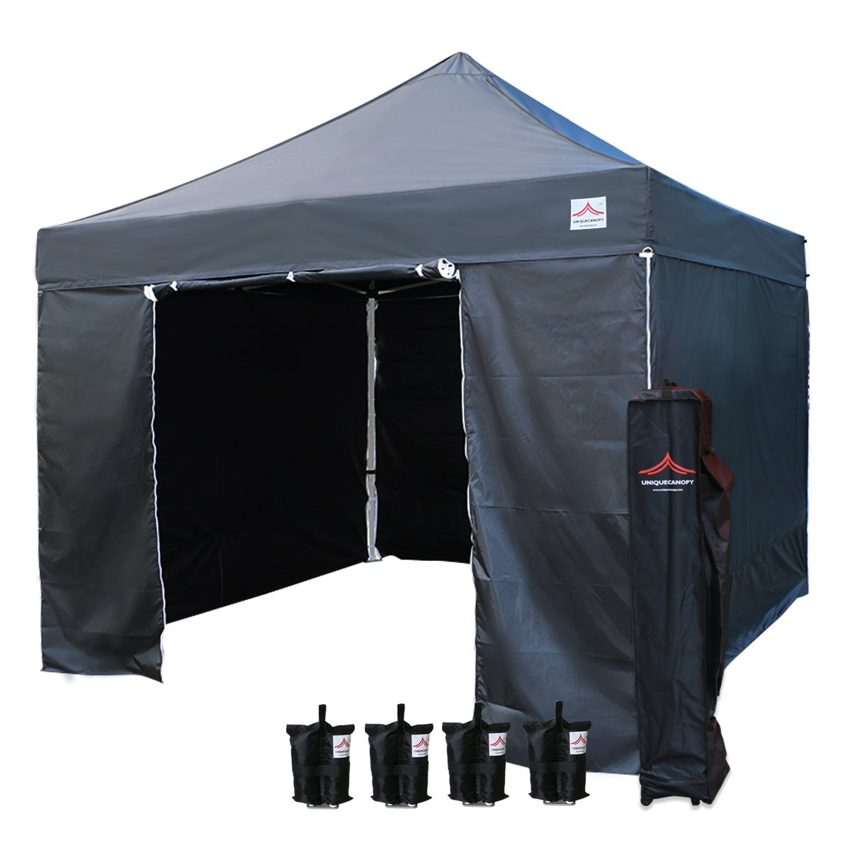 UNIQUECANOPY 10x10 Ez Pop up Canopy Tents for Parties Outdoor Portable Instant Folded Commercial Popup Shelter, with 4 Zippered Side Walls and Wheeled Carrying Bag Bonus 4 Sandbags Black