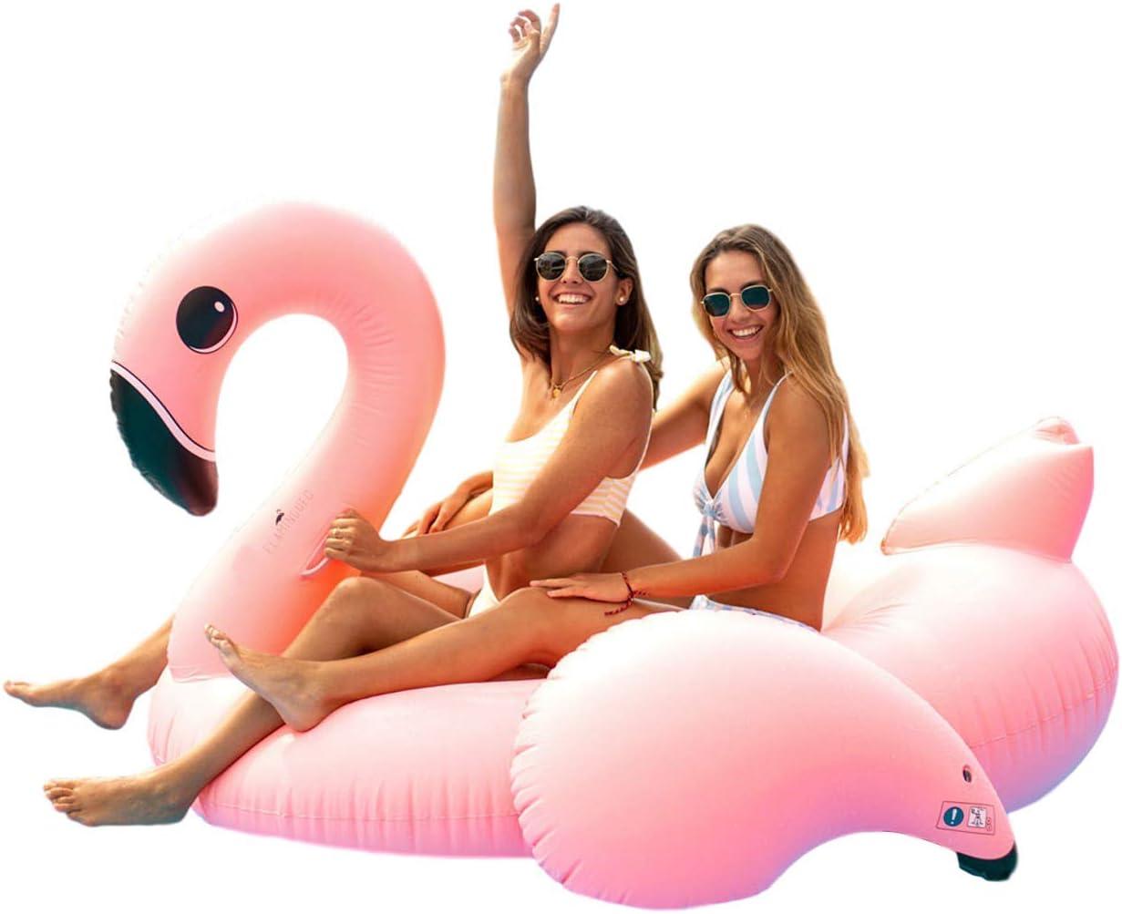 Flamingueo Flotador Gigante Flamenco - Colchoneta Piscina Flamenco, Colchoneta Hinchable Flamenco, Flotador Gigante, Flotador Adulto, Colchoneta Piscina, Hinchables Piscina, 120x115x100 cm
