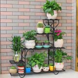 LIZX Iron Art Multi - Storey Flower Stand Balcony Indoor Rust - Proof Flower Pot Rack ( Color : Black )