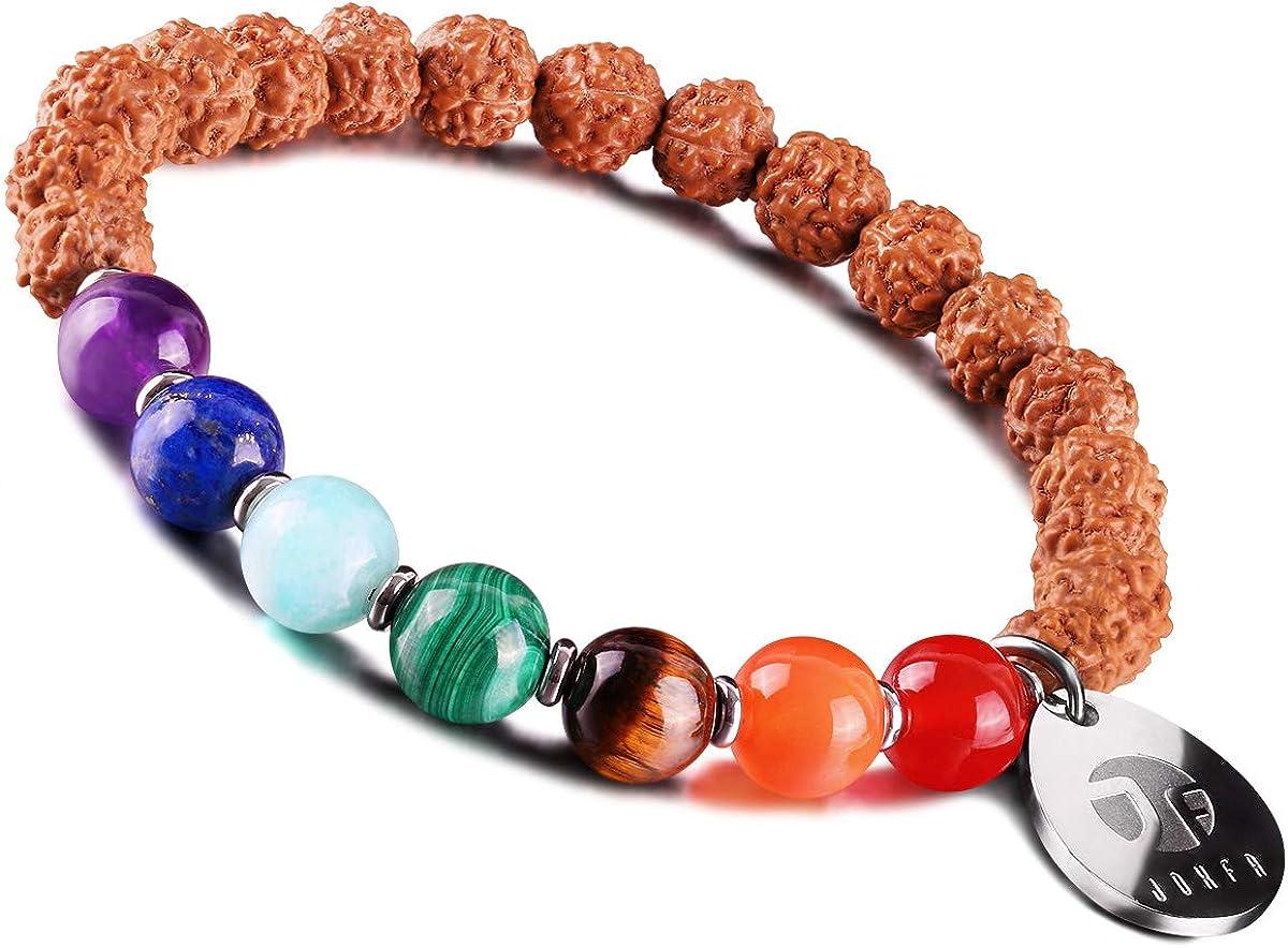 JOXFA Genuino Natural 8mm Piedras Preciosas Mala Granos Chakra Rudraksha Stretch Pulsera para Hombres Mujeres Yoga Meditación Budista Rosario