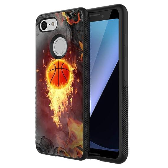 Amazon com: Google Pixel 3 Case, Basketball Fire Shock
