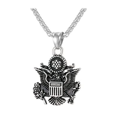 c29c05ce12c0 U7 Men Pendant with 3MM Wheat Chain Stainless Steel American Style Black  Enamel Vintage Great Seal