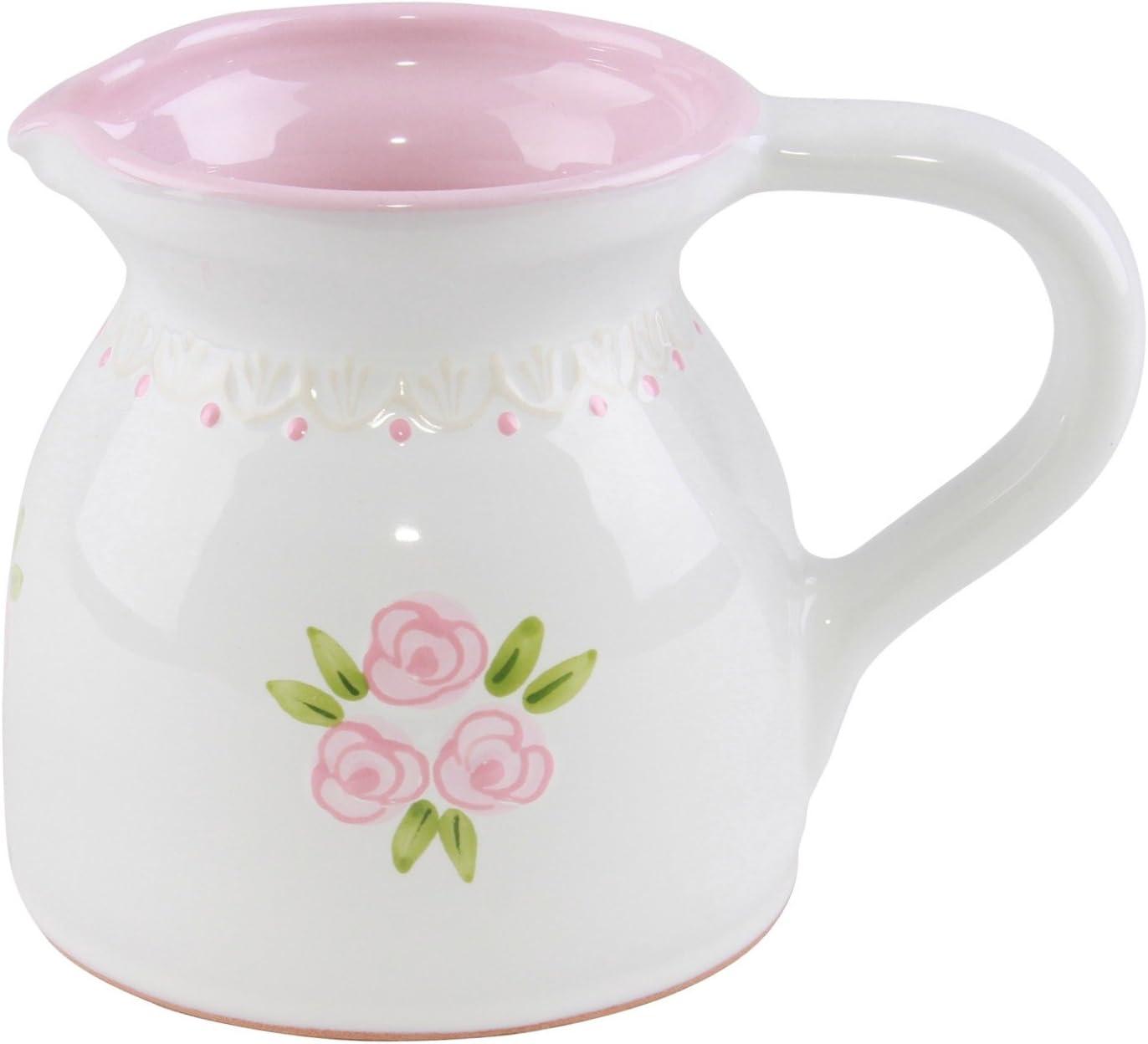 Brocca per latte in ceramica//Lattiera con dipinti a mano rosa piccole rose e con punta parete sul bordo