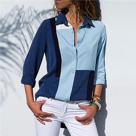 KCMCY Blusas Blusas para Mujer Camisa De Oficina con Cuello Redondo Y Manga Larga Camisa con Blusa De Gasa Tops Tallas Grandes Blusas para Mujer, XXL: Amazon.es: Hogar