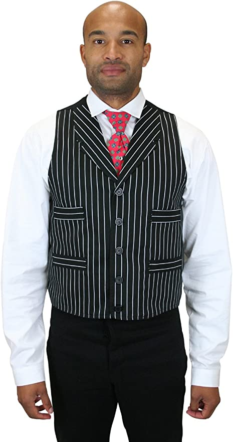 Men's Vintage Workwear Inspired Clothing Historical Emporium Mens Henderson Striped Cotton Dress Vest $66.95 AT vintagedancer.com