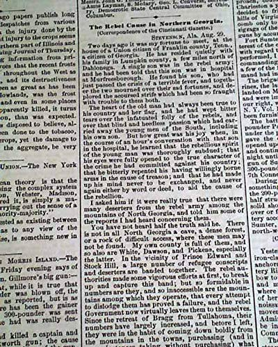 Advertiser Daily Newspaper (SECOND BATTLE OF CHARLESTON HARBOR Quincy Adams Gillmore1863 Civil War Newspaper BOSTON DAILY ADVERTISER, Sept. 7, 1863)