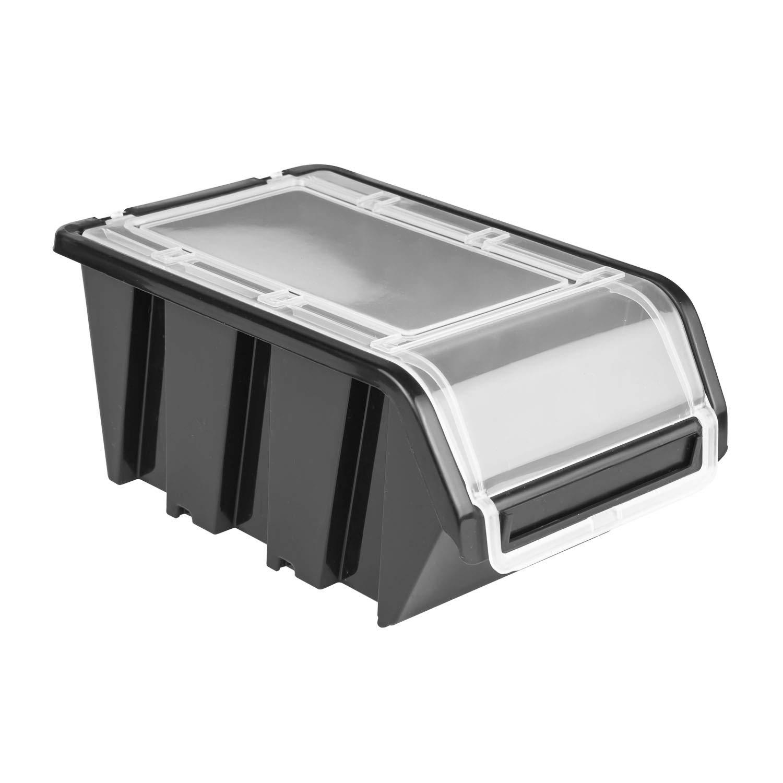 5 scatole impilabili con coperchio, 100 x 155 x 70, nero Prosper plast