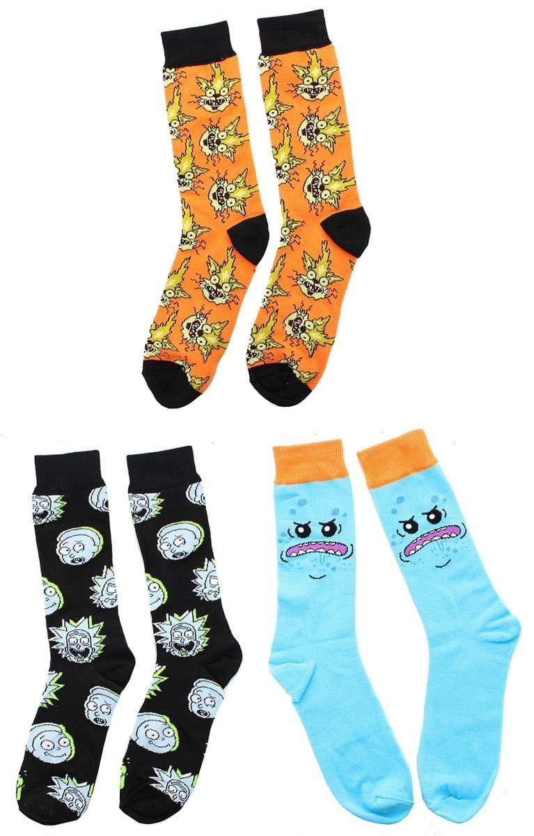 Rick and Morty OSFM Crew Socks, 1 Pair, Mr. Meeseeks Hypnotic Socks
