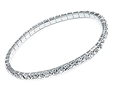 Bracelets Lovely Silver And Black Diamante Bangle