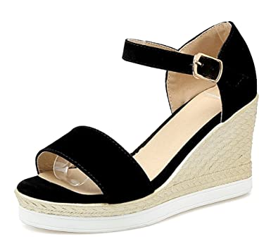 4fa6b2ff9ce9 SHOWHOW Women s Sexy Wedge Sandals - Open Toe Ankle Strap - Summer Shoes  for Ladies Black