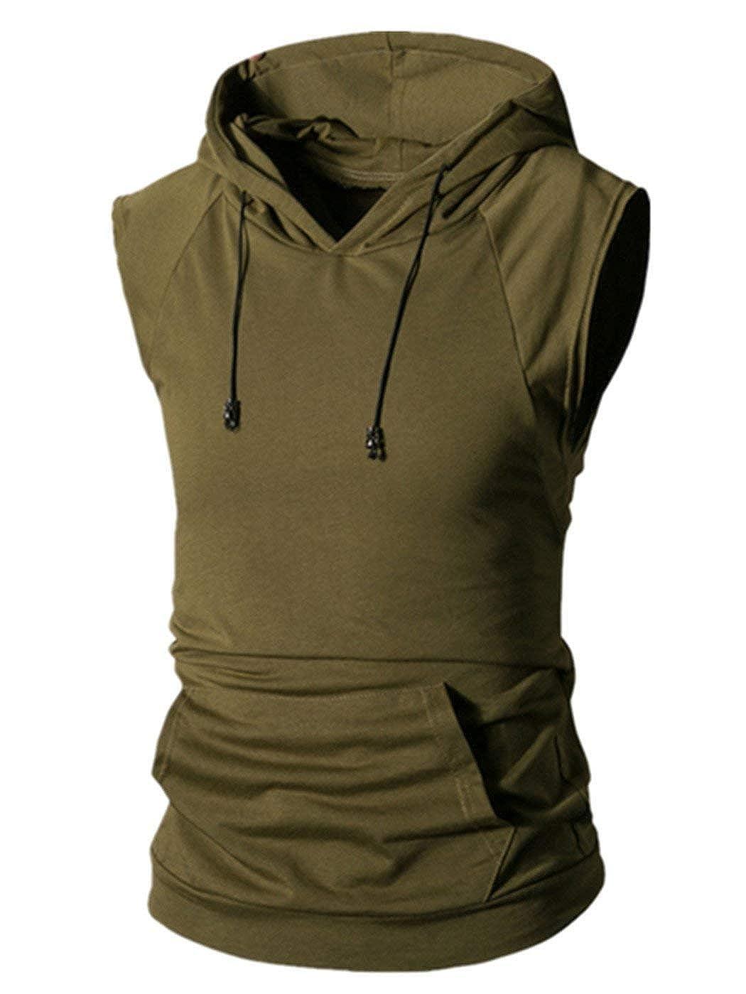 8984b8eda33 Lelili Men Summer Sports Hoodie Tank Tops Fashion Solid Kangaroo Pocket  Drawstring Hooed Pullover Shirt Blouse at Amazon Men s Clothing store