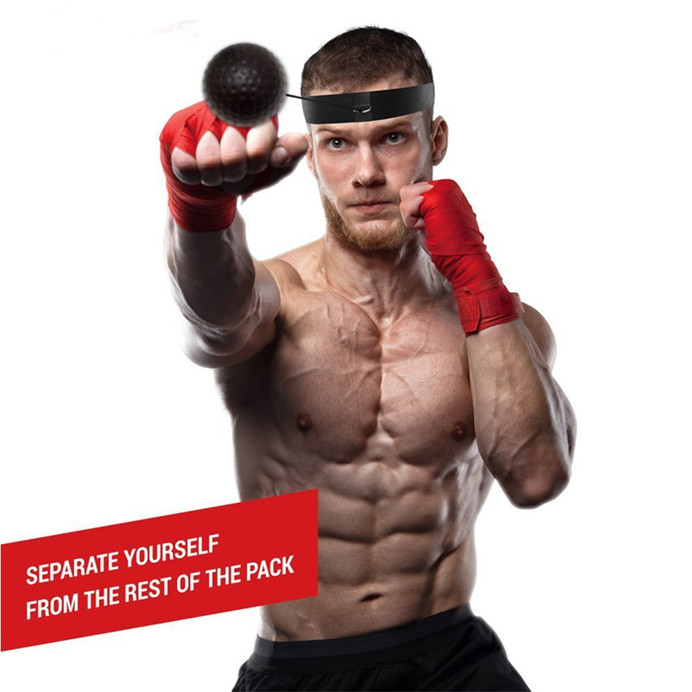 Boxing Reflex Ball Training Hand Eye Coordination, Boxing Headband with String and Boxing Tennis Ball for Speed Punch, Punching Ball for All Ages Improve Reaction and Speed for Training & Fitness