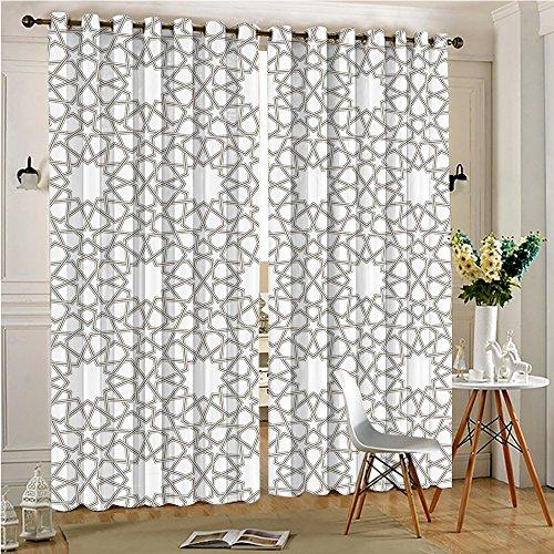 Islamic Antique (Backing Window Treatment Panels Pair Arabesque Star Pattern Antique Islamic Architecture Decorative Elements Decoration Unique Home Decor(2 Panels, 84