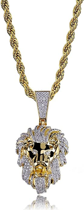 Moca Jewelry Iced Out Compass Personality Style Pendant 18K Gold Plated Chain Bling CZ Simulated Diamond Hip Hop Necklace for Men Women