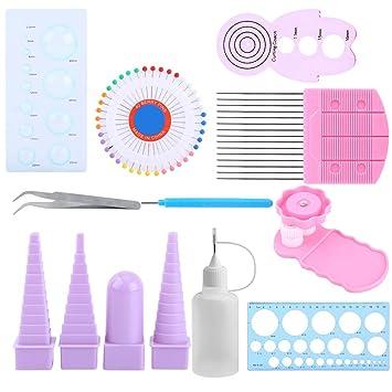 11 en 1 kit de herramientas de Quilling de papel DIY papel Craft crimpadora peine regla pins frontera Buddy Set: Amazon.es: Juguetes y juegos