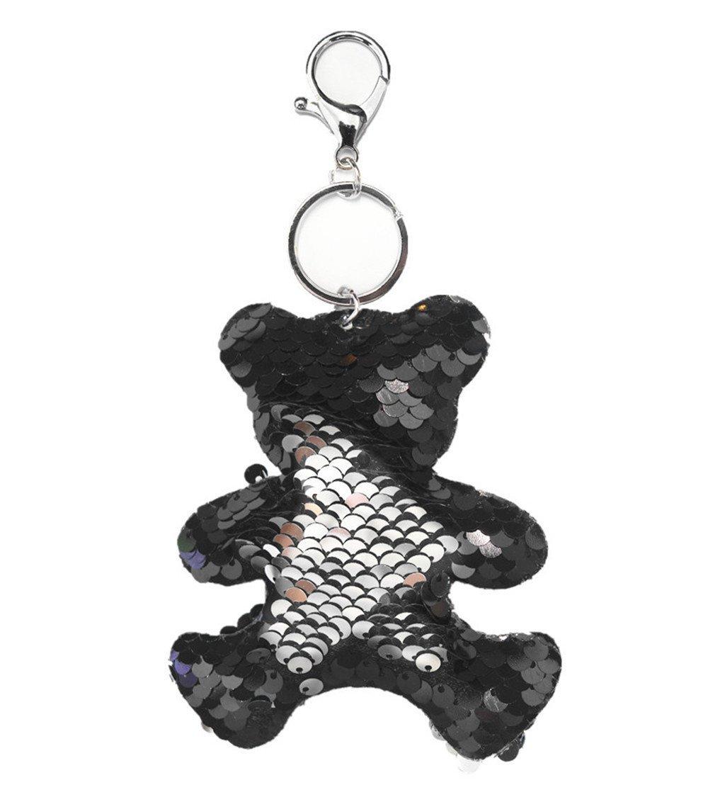 Taschenanhänger Schlüssel Anhänger Wende Pailetten Tier Bär Schwarz Silber AP-4