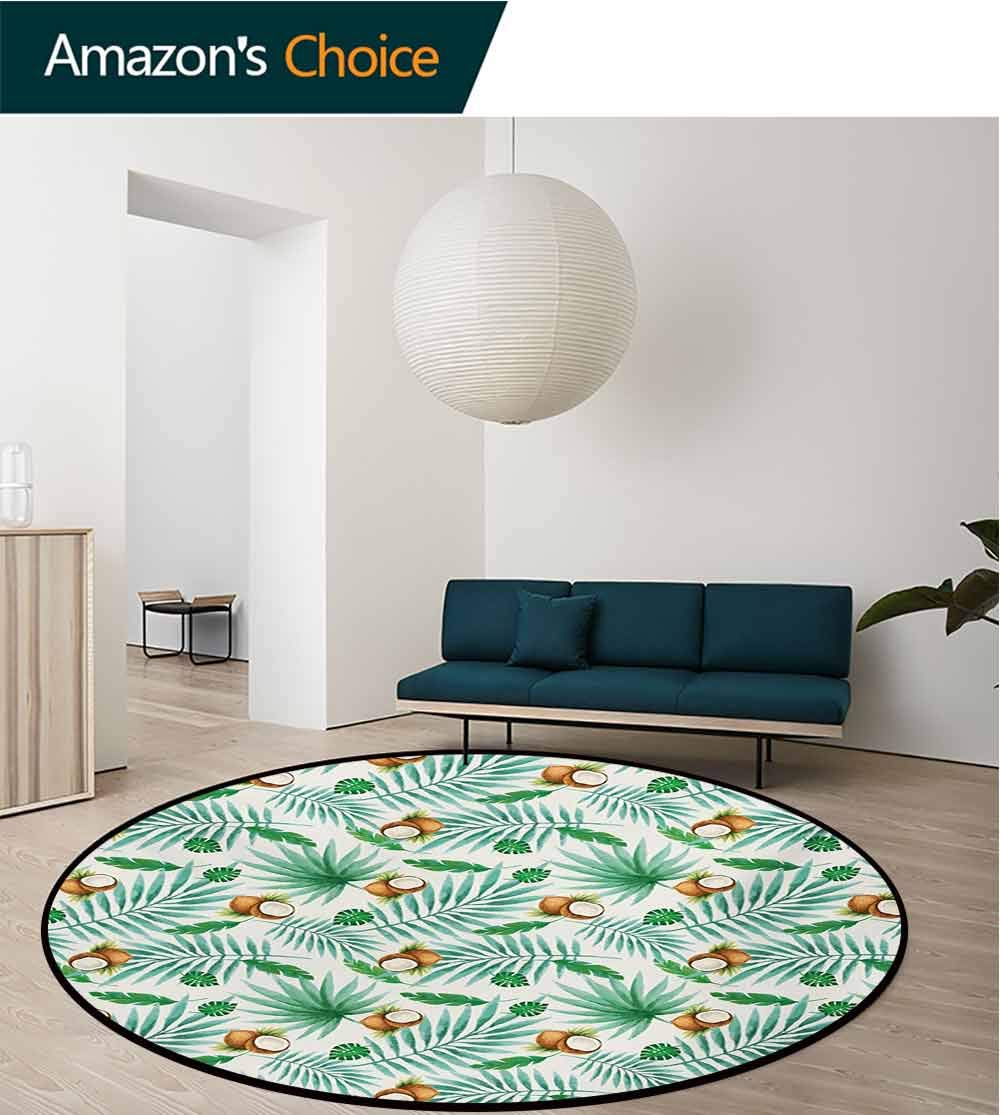 RUGSMAT Watercolor Non-Slip Area Rug Pad Round,Coconut Fruit Exotic Nature Palm Tree Leaves Aloha Hawaii Polynesian Food Protect Floors While Securing Rug Making Vacuuming,Diameter-71 Inch