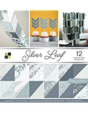 "DCWV Card Stock 12""X12"" Silver Leaf Premium Printed Cardstock Stack"