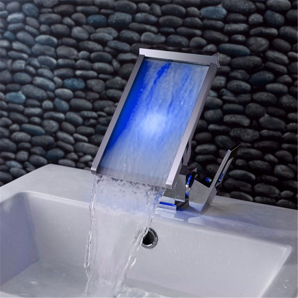 LHbox Basin Mixer Tap Bathroom Sink Faucet The creative LED waterfall basin mixer full copper hot and cold single hole Washbasin lowered basin Faucet