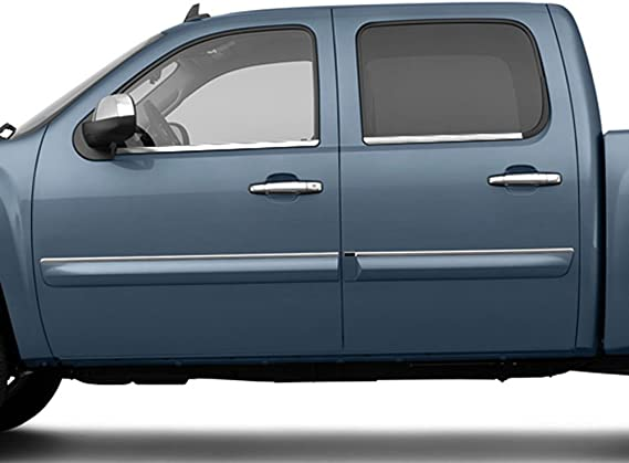 WS54185 QAA FITS SILVERADO 2014-2018 CHEVROLET 4 Pc Stainless Steel Window Sill Trim, 4-door, Double Cab