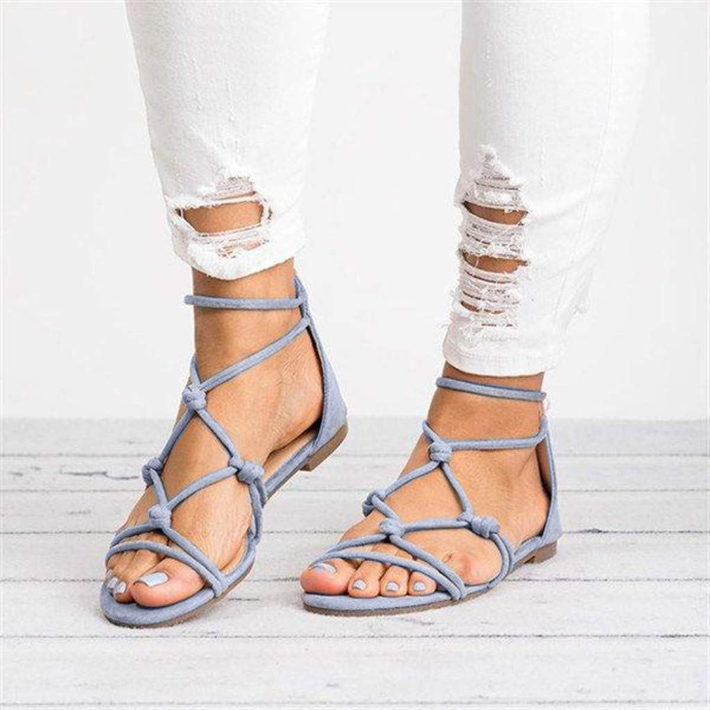 a33740063 Amazon.com  sweetnice Women Shoes Womens Gladiator Strappy Flat Open Toe Lace  Up Strap Ankle Wrap Summer Beach Thongs Flat Sandals  Clothing