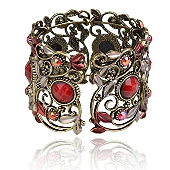 SUMAJU VTG Hollow Cuff Bracelets, Rainbow Red Flower Resin Rhinestone Retro Cuff Bangle Jewelry For Women