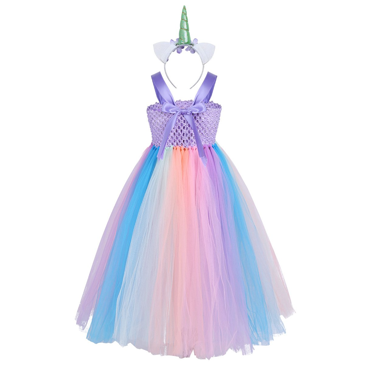 8e4c77e77f Buy Feeshow Kids Girls Unicorn Rainbow Train Dress with Tutu Headband Party  Outfit Easter Fancy Dress up Costumes Purple Rainbow 2-3 Online at Low  Prices in ...