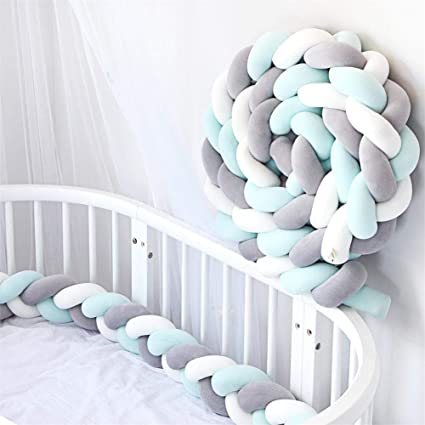 Longueur 3M D/écoration pour Lit B/éb/é Queta Tour de Lit Tresse Serpent Coussin Tour de Canap/é Souple Tress/é Pare-Choc pour Protection Les Nouveau-N/és Lit Gris + Rose + Vert