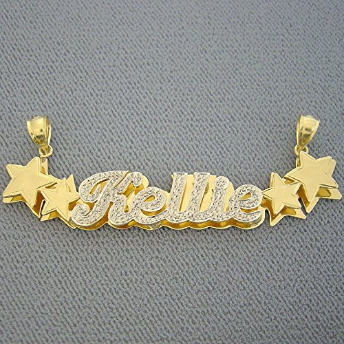 - 3D Double Stars Diamond Accent Name Pendant Charm Solid 10K Yellow Gold Personalized Jewelry