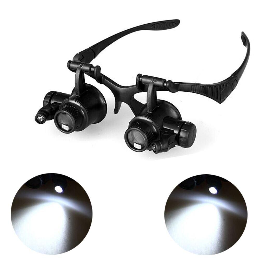 Doppia Lente Fascia Stile Occhiali Intercambiabili con Lente di Ingrandimento 10 x 15 x 20 x 25 x Con 2 Luci Led RosyXandy