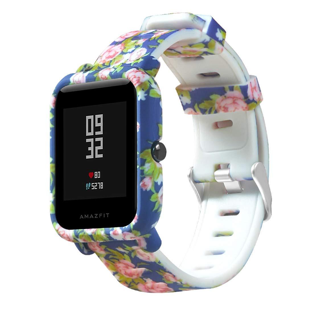 Saisiyiky 20mm Correa y Funda Protector Compatible con AMAZFIT Bip Xiaomi Huami Pulsera/Ajustable para Smartwatch Reemplazo de Correa Banda de ...