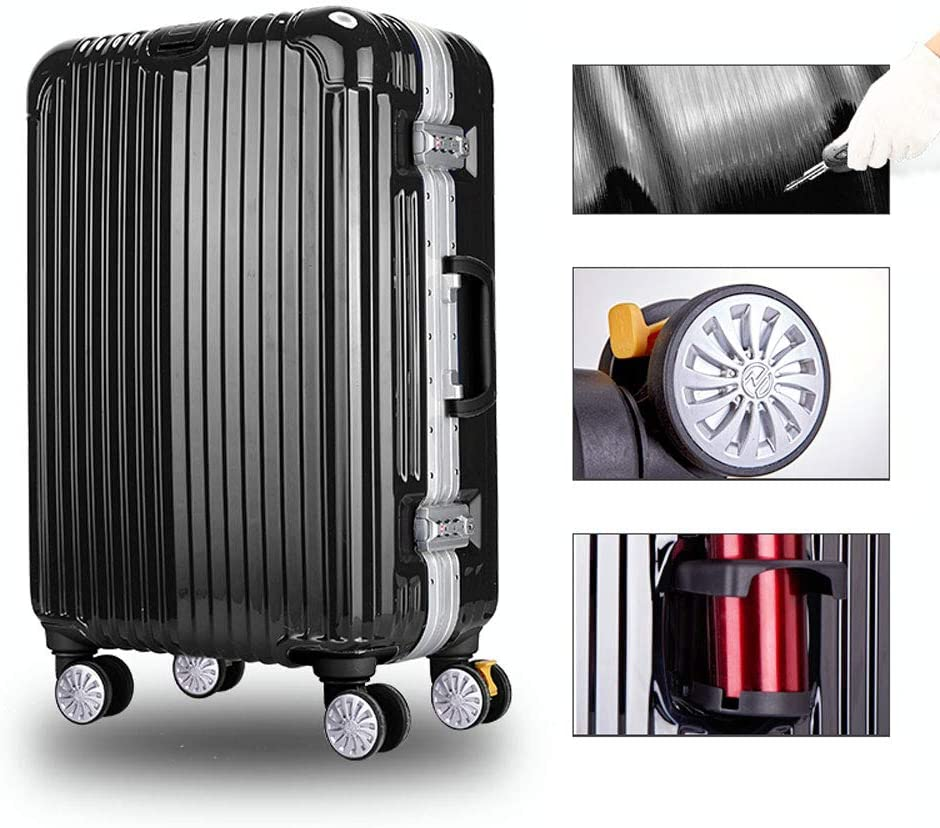 ZJ-Trolley Trolley case Large Diameter Brake Wheel Clamshell Cup Holder Color : Black Stylish Scratch-Resistant Brushed Hidden Hook Large Capacity Suitcase 4 Colors /&/& ABS+PC