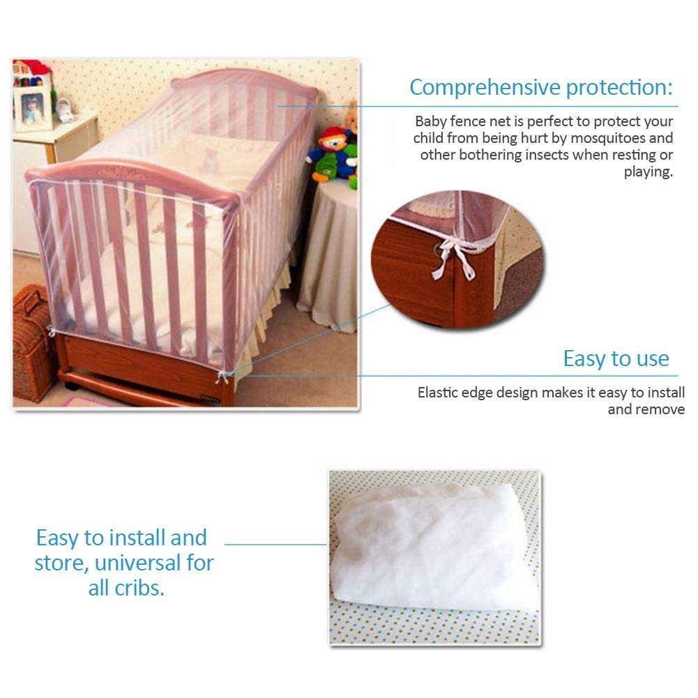 Insect Proof Breathable Baby Newborn Small Bed Mosquito Net Childrens Crib Mosquito Net Safety Tent Premium Bed Canopy Netting CoverSee Through Mesh Top Nursery Mosquito Net