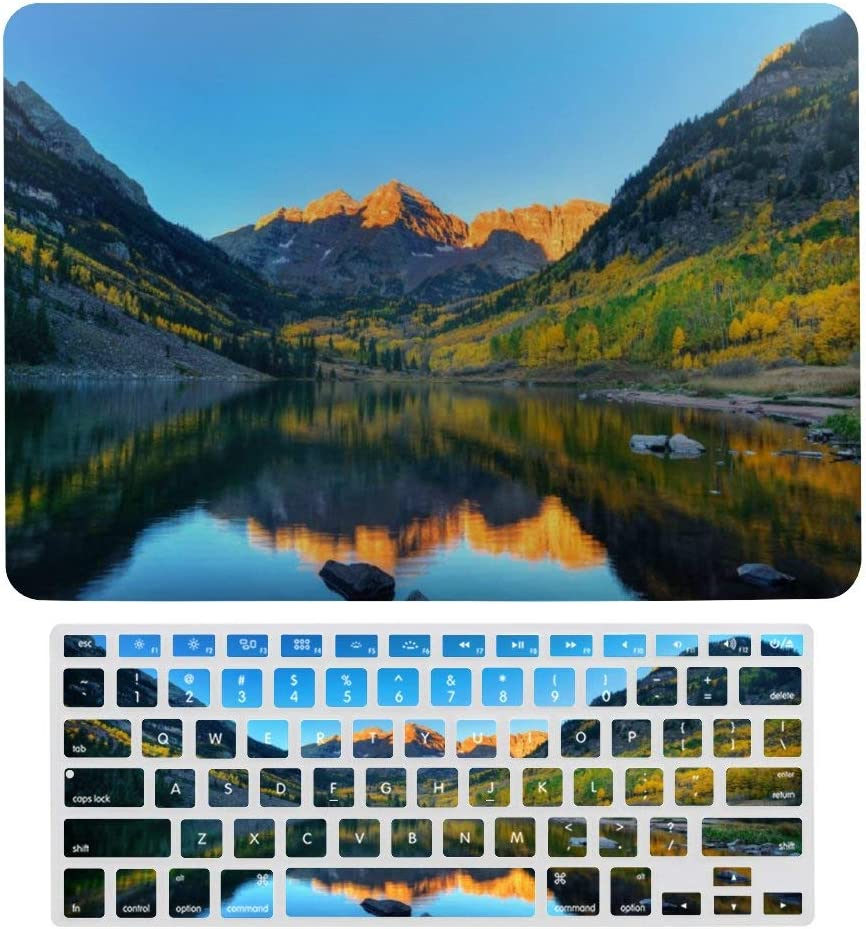 """2 in 1 Laptop Case for Apple MacBook Air 13"""" w A1466/A1369 Rubberized Hard Shell Case Cover & Keyboard Cover(Maroon Bells)"""