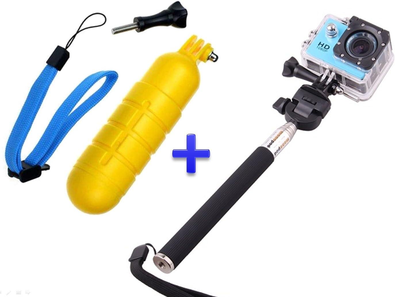 Theoutlettablet® Pack Selfie Palo Extensible para cámara Deportiva Sport CAM con Boya Sumergible y Flotante: Amazon.es: Electrónica